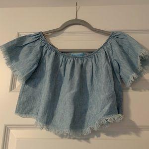 MuMu Blue Denim Crop Top. Size XS